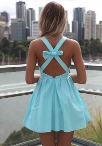 Light Blue Plain Pleated Bow Slim Mini Dress