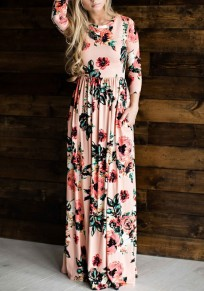Pink Flowers Print Pleated Long Sleeve High Waisted Bohemian Maxi Dress