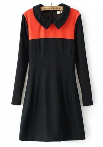 Red-Black Patchwork Long Sleeve Dress