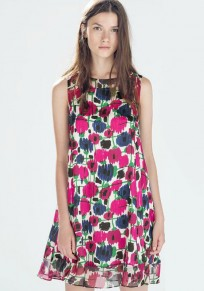 Red Flowers Print Patchwork Sleeveless Dress