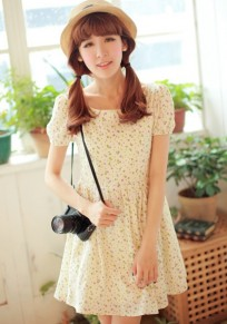 White Floral Print Puff Sleeve Linen Cotton Dress