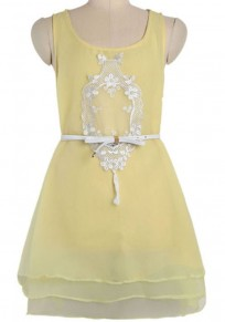 Yellow Plain Embroidery Sleeveless Polyester Dress