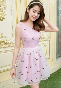 Purple Floral Embroidery Lace Grenadine Dress