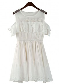 White Patchwork Embroidery Split Sleeve Dress