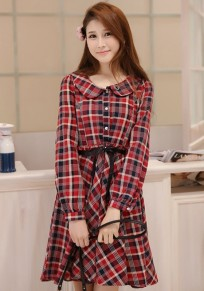 Red Plaid Print Single Breasted Dress
