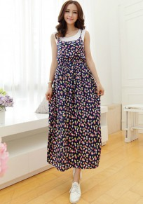 Multicolor Polka Dot Print False 2-in-1 Dress