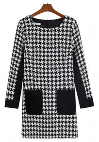 Black-White Patchwork Pockets Dress
