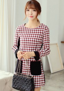 Black-Red Patchwork Pockets Dress