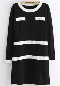 Black Patchwork Buttons Pockets Seven's Sleeve Knit Dress