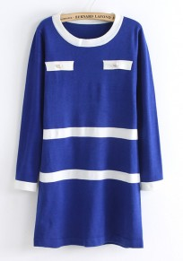 Blue Patchwork Buttons Pockets Seven's Sleeve Knit Dress