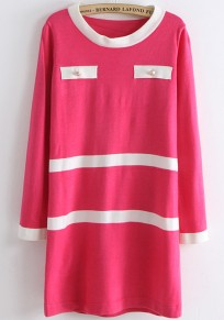 Pink Patchwork Buttons Pockets Seven's Sleeve Knit Dress