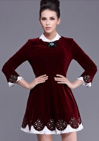 Wine Red Patchwork False 2-in-1 Dress