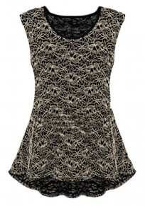 Black Embroidery Sleeveless Two Pieces Wrap Lace Dress