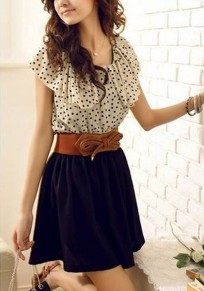 Apricot Polka Dot Belt Lotus Sleeve Chiffon Dress