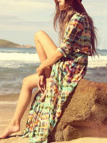 Multicolor Floral Long Sleeve Wrap Chiffon Dress