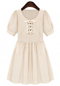 Apricot Plaid Short Sleeve Above Knee Cotton Dress