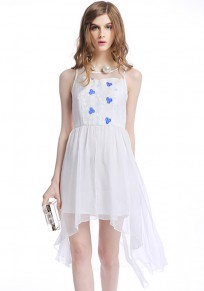 White Flowers Patchwork Embroidery Swallowtail Dress