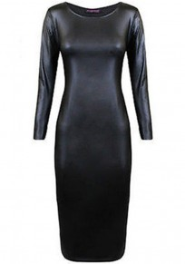 Black Plain PU Leather Long Sleeve Dress