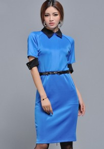 Blue Plain Belt Turndown Collar Slim Dress