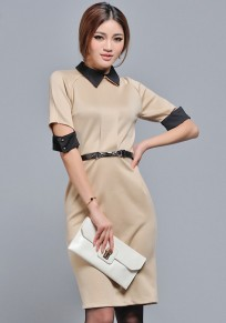 Apricot Plain Belt Turndown Collar Slim Dress