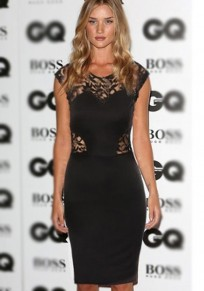 Black Patchwork Lace Hollow-out Sexy Dress