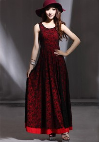 Red Patchwork Draped Double-deck Lace Dress
