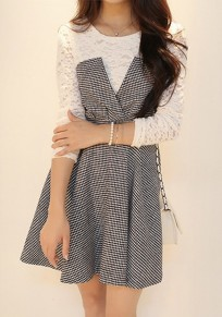 Grey Plaid Patchwork False 2-in-1 Lace Long Sleeve Dress