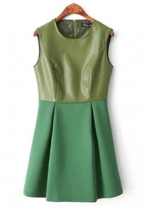 Green Patchwork Pleated Sleeveless Suede Dress
