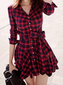 Red Plaid Tartan Vintage Chess Single Breasted Ruffle Belt Wavy Edge Elegant Dress