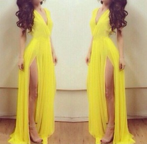 Yellow Plain Draped Plunging Neckline High-Slit Sleeveless Chiffon Dress