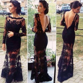 Black Flowers Embroidery Grenadine V-Back Neck Long Sleeve Lace Dress