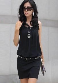 Black Plain Pleated U-neck Sleeveless Chiffon Dress