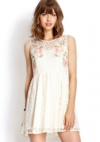White Patchwork Embroidery Ruffle Hollow-out Double-deck Dress