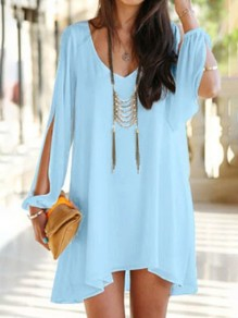 Sky Blue Plain Irregular Cut Out Split Sleeve V-neck Stylish Chiffon Dress