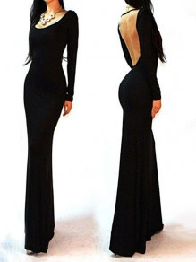 Black Plain Long Sleeve Backless Sexy Dress