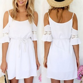 White Patchwork Lace Drawstring Off-The-Shoulder Spaghetti Strap Short Sleeve Sweet leisure Dress
