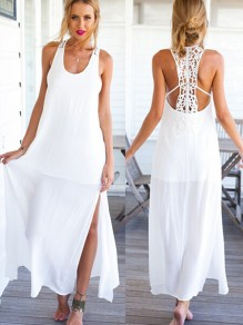 White Patchwork Lace Backless Loose Chiffon Dress