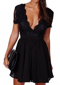 Black Plain Pleated Backless Zipper Lace Deep V-neck Short Sleeve Party Mini Dress