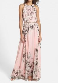 Pink Floral Print Pleated Sleeveless Maxi Dress