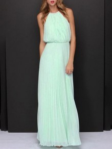 Light Blue Plain Draped Sleeveless Elegant Chiffon Maxi Dress