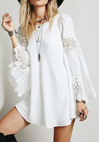 White Patchwork Lace Hollow-out Long Sleeve Chiffon Mini Dress