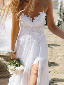 White Side Slits Backless Condole Belt Lace Spaghetti Strap Beach Wedding Maxi Dress