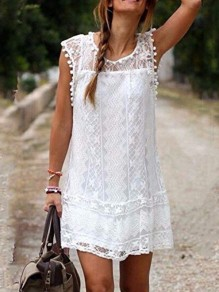 White Plain Lace Embroidered Crochet Double-deck Round Neck Sleeveless Mini Beach Dress