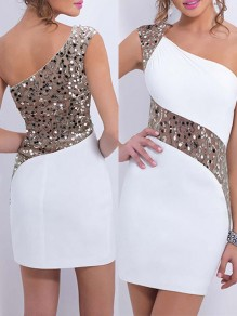 White Patchwork Lace Sequin Asymmetric Shoulder Cocktail Evening Party Bridesmaid Mini Dress