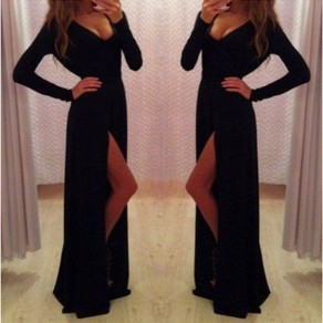 Black Plain Irregular V-neck Split Floor Length Maxi Dress