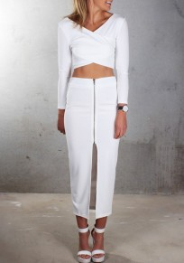 White Plain Crop Zipper 2-in-1 Long Sleeve Maxi Dress