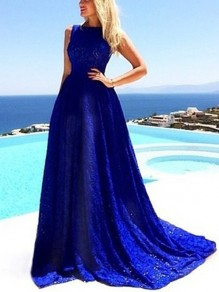 Blue Plain Sleeveless Floor Length Slim Lace Maxi Dress