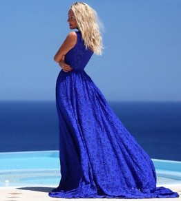 Blue Plain Sleeveless Floor Length Slim Lace Maxi Dress