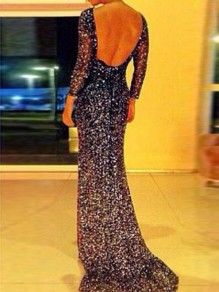 Black Sequin Backless Long Sleeve Skinny Sexy Maxi Party Dress