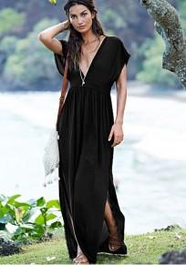 Black Plain Tassel Plunging Neckline Short Sleeve Maxi Dress